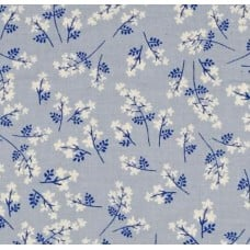 Bouquets in Blue Cotton Fabric by Cotton + Steel