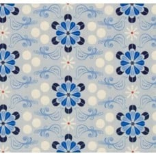 Floral in Blue Cotton Fabric by Cotton + Steel Fabric Traders