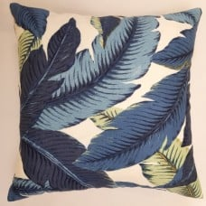Cushion Cover - Swaying Palms in Blue Indoor Outdoor Fabric Fabric Traders