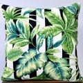 Cushion Cover - Stripes And Lush Tropical Leaves Indoor Outdoor Fabric
