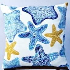 Cushion Cover - Starfish in Blue Green Indoor Outdoor Fabric