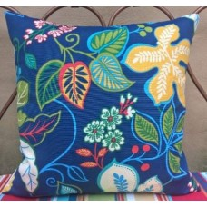 Cushion Cover - Outdoor Polyester Fabric in Floral Cobalt