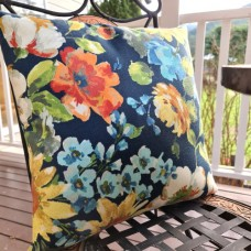 Cushion Cover - A Flower Display on Navy Indoor Outdoor Fabric