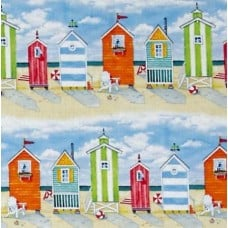 Beach Vista Cabins Stripe Cottons Fabric