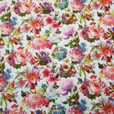Hummingbirds and Floral Blooms Cotton Fabric