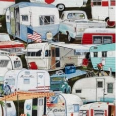 Vintage Caravans Cotton Quilting and Apparel Fabric