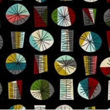 Mod Geometric Shapes Main Cotton Fabric by Emily Hayes in Black