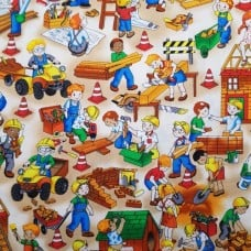 Building Site Fun Cotton Quilting Clothing Craft Fabric