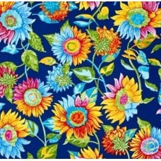 Sunflowers Blue Cotton Print Fabric
