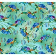 Turtles in the Sea Cotton Fabric