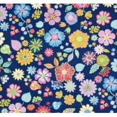 Packed Flowers Cotton Fabric in Navy