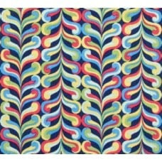 Curled Stripe Cotton Fabric in Navy Fabric Traders
