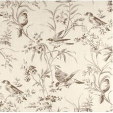 REMNANT - Toile Birds Home Decor Fabric in Taupe