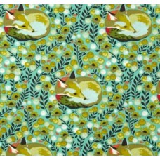 Chipper Fox Nap in Mint Cotton Fabric by Tula Pink