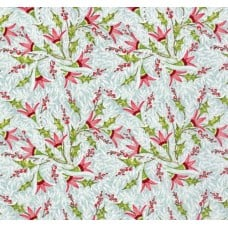 Holly Jolly Jolly Berries Cotton Fabric in Blue Fabric Traders