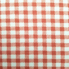 French Terry Stretch Knit Checked Fabric in Rust Red and White