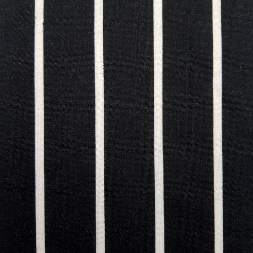 French Terry Stretch Knit Striped Fabric In Black And White Fabric