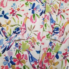 Exotic Birds and Flora Luxe Cotton Home Decor Fabric in Pink Fabric Traders