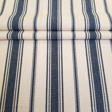 Striped Coastal Luxe Home Decor Fabric in Blue and Creamy Ivory Fabric Traders