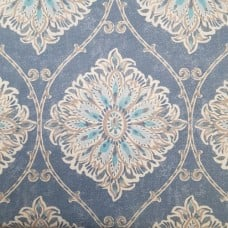 Floral Gate Cotton Home Decor Fabric in Denim Blue