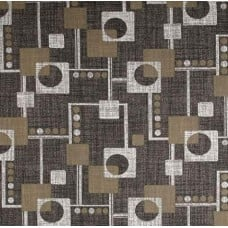 Retro Squares Home Decor Cotton Fabric in Taupe Grey