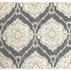 Floral Gate Cotton Home Decor Fabric in Grey