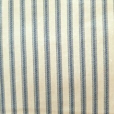 Ticking Stripe Traditional Cotton Fabric Natural and Deep Sky Blue