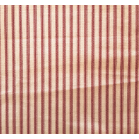Ticking Stripe Traditional Cotton Fabric Fire Brick and Tan