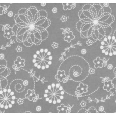 Flannel Floral Doodles Cotton Fabric in Grey