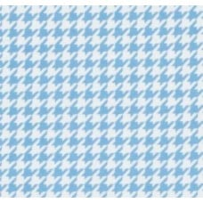 Flannel Houndstooth Cotton Fabric in White and Baby Blue Fabric Traders