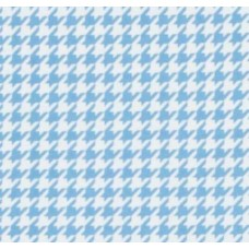 Flannel Houndstooth Cotton Fabric in White and Baby Blue