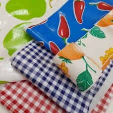 FABRIC STACK - Mexican Oilcloth Fabrics 60cm in Gingham, Chilli and Fruit  Fabric Traders