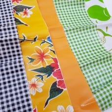 FABRIC STACK - Mexican Oilcloth Fabrics 50cm in Gingham, Fruit and Flowers  Fabric Traders