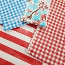 FABRIC STACK - Mexican Oilcloth Fabrics 60cm in Blue and Red  Fabric Traders