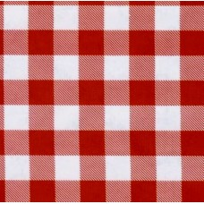Oilcloth Laminated Fabric Picnic Check in Red