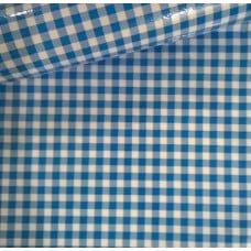 Mexican Oilcloth Laminated Fabric Gingham Light Blue Fabric Traders