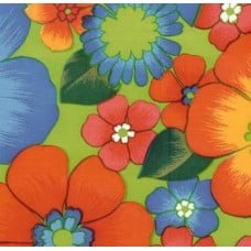 Mexican Oilcloth Laminated Fabric Floral Garden Green