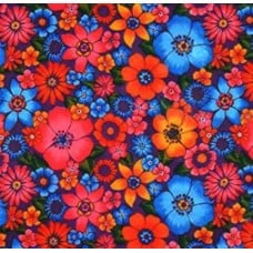 Mexican Oilcloth Laminated Fabric Floral Garden Fabric Traders