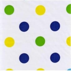 Mexican Oilcloth Laminated Fabric Big Dots Navy