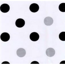 Mexican Oilcloth Laminated Fabric Big Dots Silver