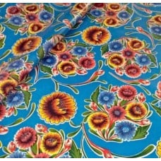 Mexican Oilcloth Laminated Fabric Bloom in Light Blue
