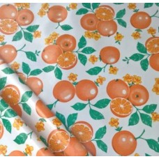 Mexican Oilcloth Laminated Fabric Orange Toss White
