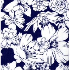 Oilcloth Laminated Fabric Floral in Navy Fabric Traders