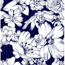 Oilcloth Laminated Fabric Floral in Navy