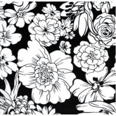 Oilcloth Laminated Fabric Floral in Black Fabric Traders
