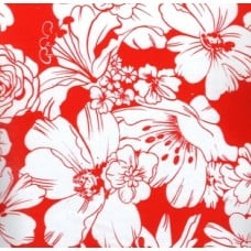 Oilcloth Laminated Fabric Floral in Red
