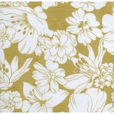 Oilcloth Laminated Fabric Floral in Gold