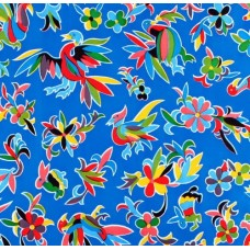 Oilcloth Laminated Fabric The Aztec Design in Blue Fabric Traders