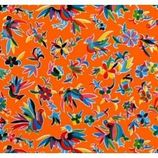 Oilcloth Laminated Fabric The Aztec Design in Orange
