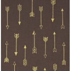 Arrow Flight Metallic Arrows Grey Brown Cotton Fabric by Michael Miller